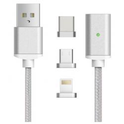 MAGNETYCZNY KABEL 3w1 NYLON USB-C MICRO USB 200cm